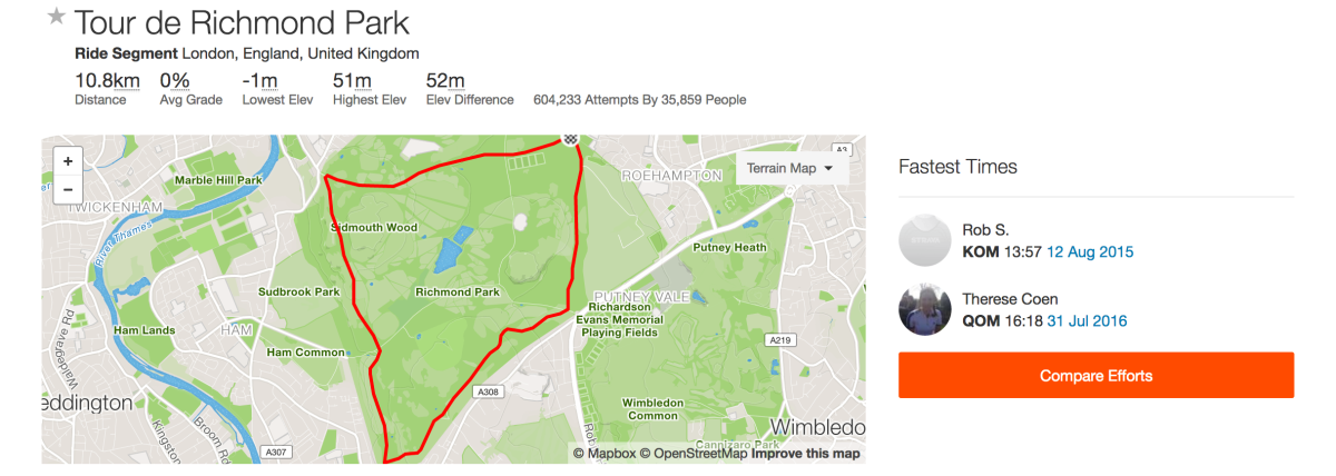 Going for a QOM on Strava